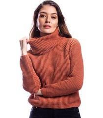 suéter cuello vuelto café para dama