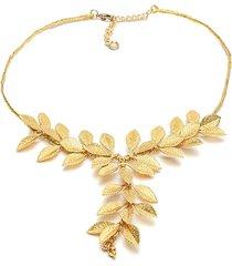 collar de mujer dorado  micro hojas brass colection by vestopazzo