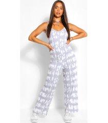 ton-sur-ton oversized tie-dye jumpsuit met wijde pijpen, grijs