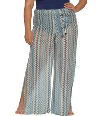 plus size women's becca etc. wander cover-up pants, size 2x - blue