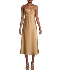 theory women's satin a-line midi dress - bronze - size 12