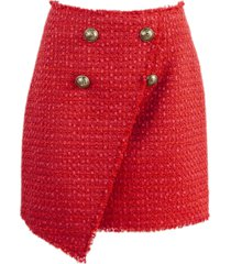 balmain short red tweed skirt