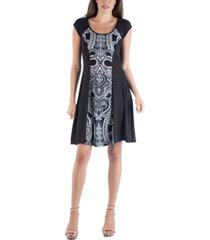 24seven comfort apparel paisley detail a-line dress