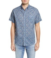 men's rails carson short sleeve linen blend button-up shirt