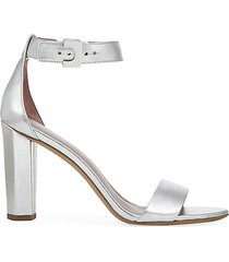 chainlink ankle-strap metallic leather sandals