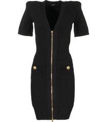 balmain short black knit dress with gold-tone zip fastening
