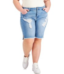 gogo jeans trendy plus size frayed bermuda jean shorts