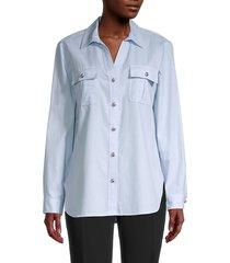karl lagerfeld paris women's spread-collar long-sleeve shirt - blue white - size s