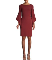 stretch wool crepe drape-sleeve sheath dress