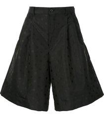 comme des garçons polka dot print wide-leg shorts - black