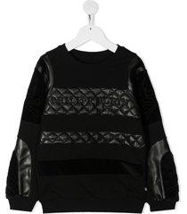 philipp plein junior quilted finish sweatshirt - black