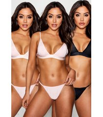 3 pack triangle bralette, white