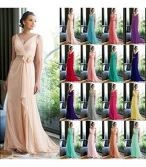 long chiffon lace evening formal party ball prom bridesmaid dress custom size