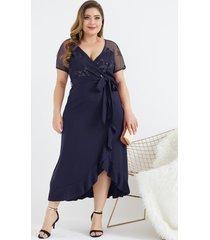 abrigo de malla de talla grande diseño lentejuelas adornadas vestido
