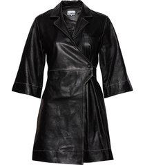 lamb leather korte jurk zwart ganni