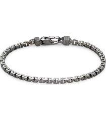 effy men's black rhodium-plated sterling silver greek box chain bracelet