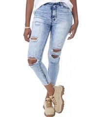jeans super high rise skinny destroyed azul claro corona