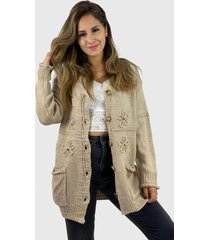 chaleco lana hippie chic beige enigmática boutique