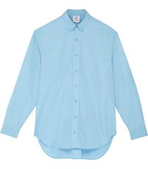 logo embroidered oversized button-up shirt