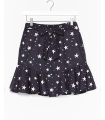 womens off to a good star-t belted mini skirt - black