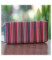 cotton wallet, 'dark green vertical rainbow' (indonesia)