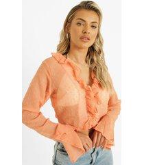 dobby mesh blouse met ruches, peach