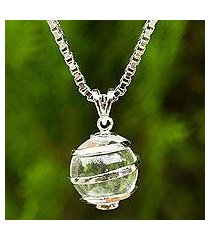 quartz pendant necklace, 'crystalline spin' (thailand)