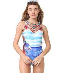 maiô/body new beach estampado aquarela azul/laranja