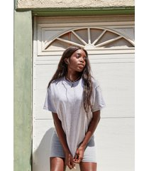 womens all get together tee and biker shorts set - grey marl