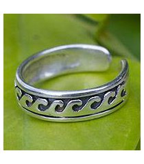 sterling silver toe ring, 'beach beauty' (thailand)