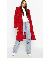 oversized teddy faux fur longline coat, wine