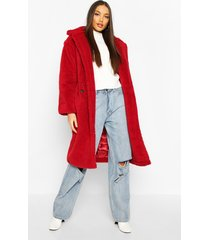 oversized teddy faux fur longline coat, wine
