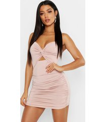 bodycon mini jurk met ruches en ceintuur, nude