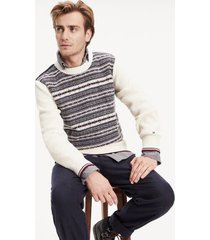 tommy hilfiger men's fair isle sweater whisper white - xxl