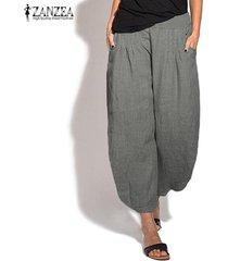zanzea mujeres elásticos de la cintura harem ancho de las piernas de los pantalones largos holgados pantalones plus -gris