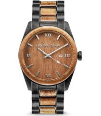 original grain men's classic koa wood paired with stonewashed stainless steel watch 43mm