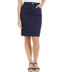 charter club petite polka-dot denim skirt, created for macy's