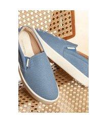 slip on sapatenis feminino zoccolette tênis casual lona azul