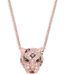 14k rose gold, diamond & green sapphire panther pendant necklace