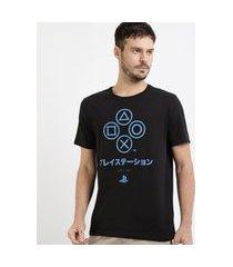 camiseta masculina playstation manga curta gola careca preta
