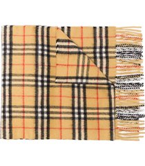 burberry cashmere classic vintage check scarf - brown
