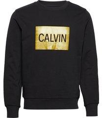 calvin box regular crew neck sweat-shirt tröja svart calvin klein jeans