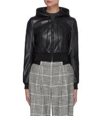 'pauline' vegan leather hooded bomber jacket