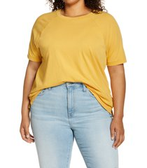 plus size women's madewell softfade raglan cotton t-shirt, size 1x - yellow