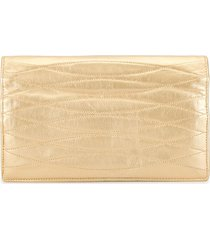 chanel pre-owned twisted diamond quilt clutch - gold