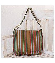 leather accent cotton shoulder bag, 'maya rainbow' (guatemala)