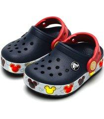 babuche crocs infantil crocband mickey led azul