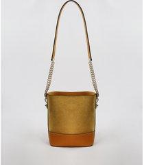 bolsa feminina pequena em suede com correntes mostarda