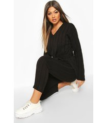 belted longline sweater & legging lounge set, black