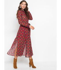 chiffon jurk met ruitpatroon